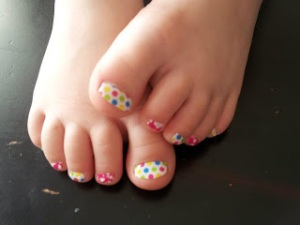 Colorful Polka & Pink Primrose #nailart fro kids from #JamberryNails